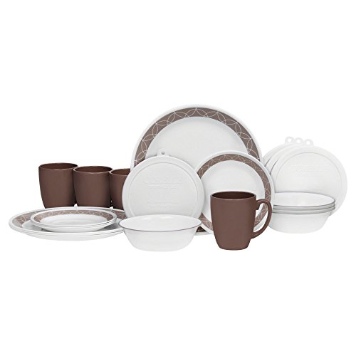 Corelle 20 Piece Livingware Dinnerware Set with Storage, Sand Sketch, Service for 4 (Lightweight Dinnerware Sets)