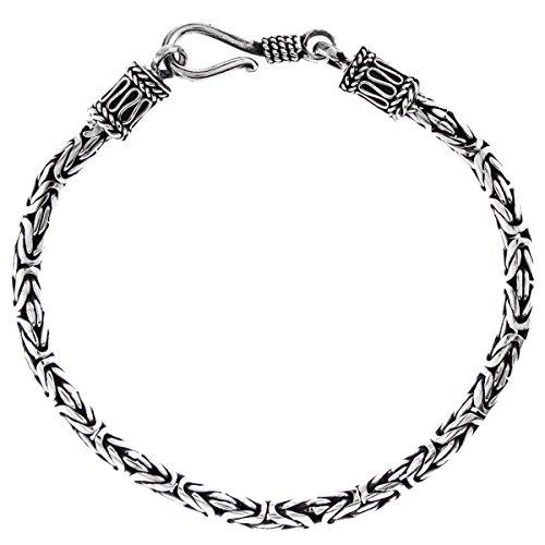 (Length 6 3mm Round Byzantine Handmade Bali Oxidized 925 Sterling Silver Chain Anklet Bracelet)