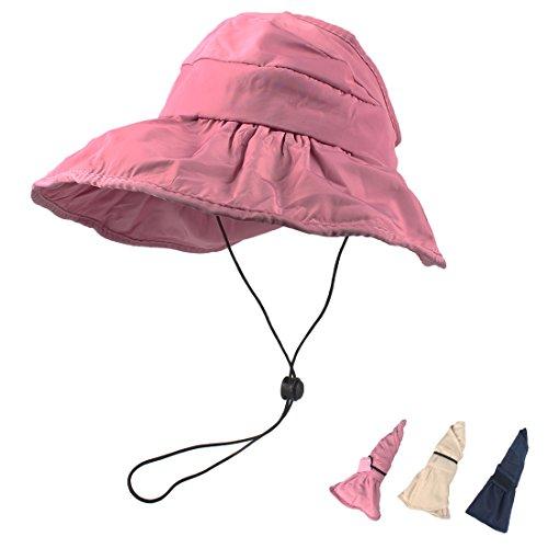 KRATARC Summer Kids Sun Hat Girls Visor Floppy Wide Brim Foldable Cap Chin Cord (Pink)