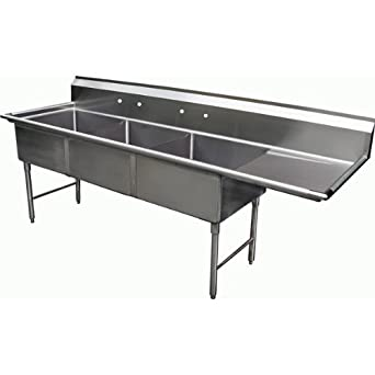 Allstrong 3 Compartment Stainless Steel Sink 24 Quot X 24 Quot X 14