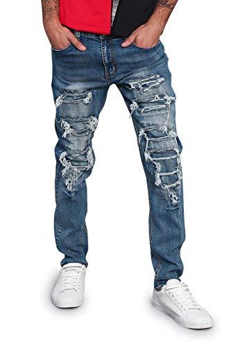 - Victorious Men's Distressed Denim Jeans DL1215 - Indigo - 34/34 - H3C