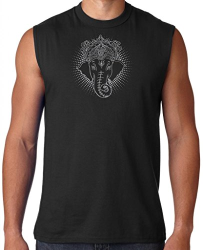Iconic Muscle Tee - Mens ICONIC GANESHA Sleeveless Tee Shirt, Large Black