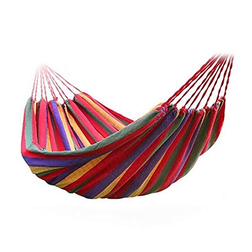 Fairbridge Travel Camping Hammock Cotton Fabric Swing Bed Canvas Stripe Outdoor Portable with Bag Fit 1 Person