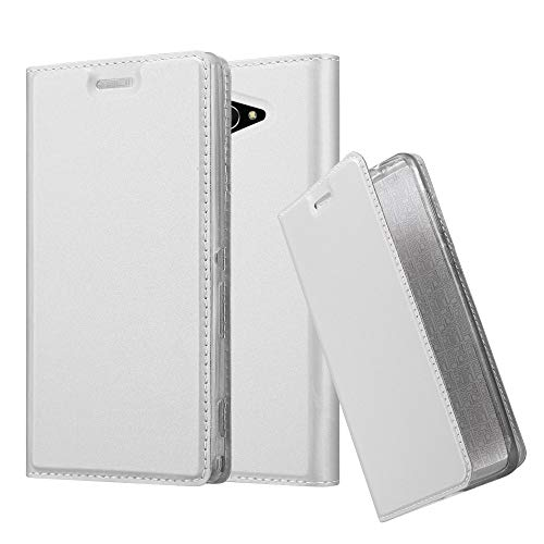 orks with Sony Xperia M2 in Classy Silver - with Magnetic Closure, Stand Function and Card Slot - Wallet Etui Cover Pouch PU Leather Flip ()