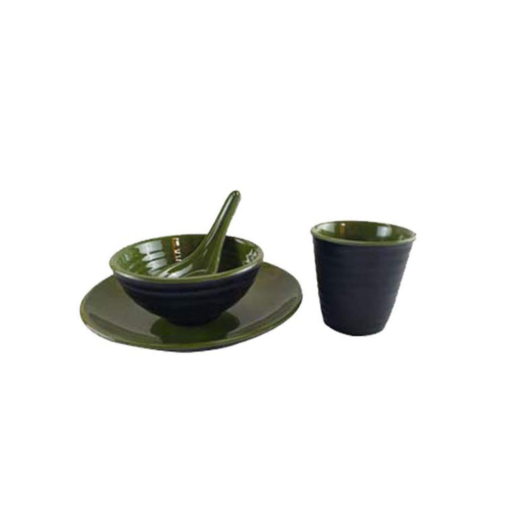 Durable Melamine 4pcs Cup Bowl Plate Spoon Set for Hotel Restaurant Unbreakable Dinnerware Tableware Bowls Set Imitation Ceramic Utensil (4, C4)