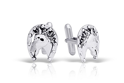 Peora Mens Cuff Links Polished Sterling Silver Horse Horseshoe, Fathers Day Jewelry Gifts for Dad ()