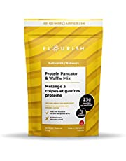 Flourish Buttermilk Protein Pancake & Waffle Mix   Fortified with Flax Seed and Whey Protein Isolate   Non-GMO, No Added Sugar, Superfood   High Protein & Fibre   Just Add Water   430g
