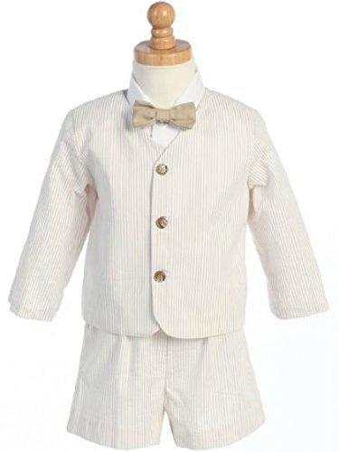 Boy's Easter 4 - Piece Striped Seersucker Eton Suit in Khaki (Toddler Easter Suits)