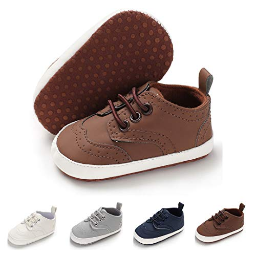 Crib Shoes Sneakers - Infant Baby Girls Boys Sneakers Soft Sole Anti-Slip Toddler First Walker Newborn Crib Shoes(13cm,12-18months,A-Brown