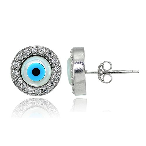 Sterling Silver Cubic Zirconia Multi Colored Blue Enamel Evil Eye Hamsa Fatima Stud - Earrings Fatima