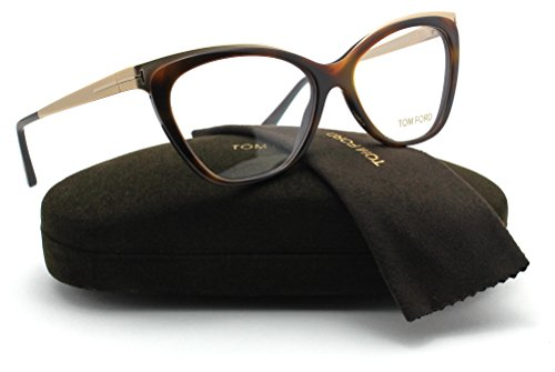 Tom Ford FT5374 Metal Cat Eye Women Eyeglasses (Dark Havana Frame 052, - Tom Discount Eyeglasses Ford