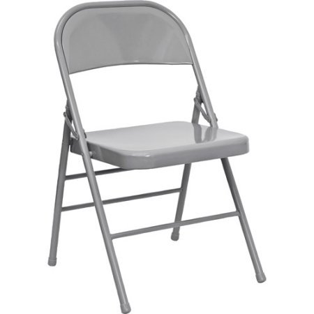 A Double Hinged Metal Folding Chair - 4-Pack, Gray Finish, Space Saving Design, Set of Chairs With Triple-Braced Frame, Indoor Furniture for YOur Home or Office, BONUS E-book by Best Care LLC
