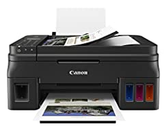 The Pixma G4210 is a Wireless MegaTank All In One printer designed to let you print and not constantly worry about running out of ink. Built in Copy, Scan and Fax abilities round out the functions of this powerhouse. With AirPrint, the Canon ...