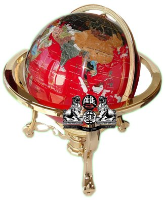 - Unique Art 21-Inch Tall Red Lapis Ocean Table Top Gemstone World Globe with Gold Tripod