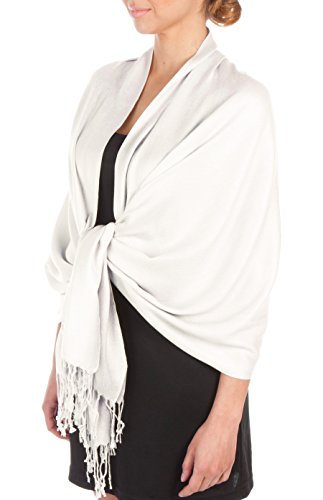 Sakkas Large Soft Silky Pashmina Shawl Wrap Scarf Stole in Solid Colors - White ()
