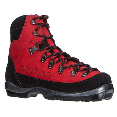 (Alpina Sports Wyoming Leather Backcountry Cross Country Nordic Ski Boots, Red/Black, Euro 41)