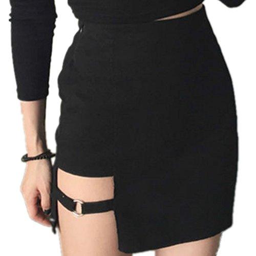 YOUMU Ladies Sexy Irregular Skirt Gothic Punk Dance Clubwear Short Mini Bodycon Black ()