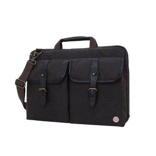 Token Bags Waxed Knickerbocker Laptop Bag 15 Inch, Dark Brown/Black, One Size by Token Bags
