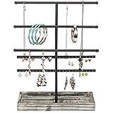 MyGift 3-Tier Tabletop Black Metal Jewelry Display