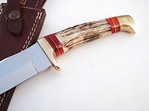 ++ DKC-717-440c BALD EAGLE 440c Stainless Steel Bowie Hunting Handmade Knife Stag Horn Fixed Blade 9.8oz 10 '' Long 5'' Blade DKC KNIVES by DKC Knives (Image #4)