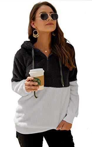 Angashion Womens Sweatshirt - Long Sleeve 1/4 Zip Up Faux Fleece Pullover Hoodies Coat Tops Outwear with Pocket 174 Dark Grey M