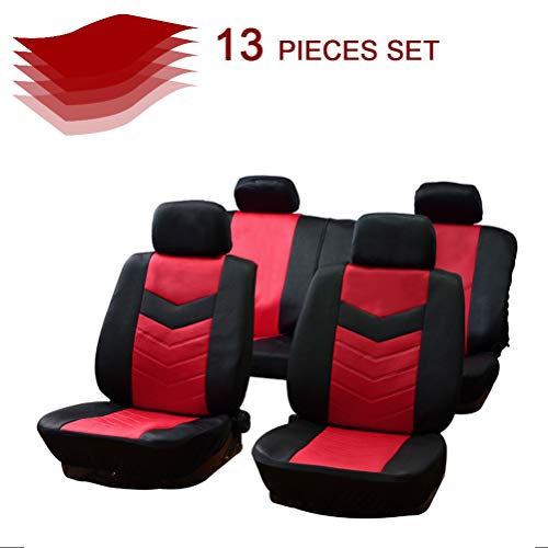 cciyu Universal Seat Cover w/Headrest/Steering Wheel Cover/Shoulder Pads - 100% Breathable Car Seat Cover Washable Auto Seat Covers Replacement fit for Most Cars(Black/Red)