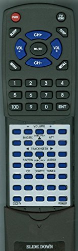 Replacement Remote Control for PIONEER CXC1266, FHP4200MP, CXC3174 -  Redi-Remote, RTCXC3174