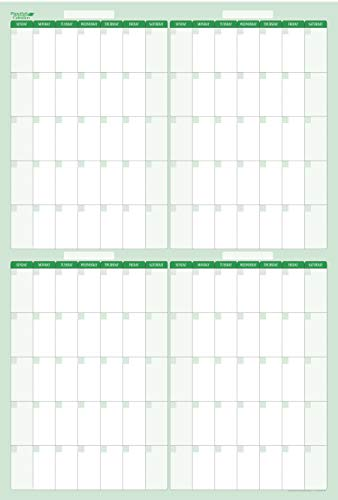 (120-Day 4-Month Dry and Wet Erasable Wall Calendars by PlanetSafe Calendars. Best in It's Class. Non-ghosting or Staining (Vertical: 32 x 48, Earth Green))