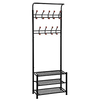 "SONGMICS Entryway Coat Rack with Storage Shoe Rack Hallway Organizer 18 Hooks and 3-Tier Shelves Metal Black - 3-IN-1 DESIGN: Combined with coat rack, shoe rack and hanging rail, this multi-use organizer is an ideal solution for doorway or bedroom HANG AS YOU NEED: 18 hooks at 4 levels and the durable hanging bar provide endless possibility for your coats, bags, backpacks, scarves SAVE YOUR SPACE: Spacious 3-tier shoe rack 26.4""x 12.4"" well organizes your shoes in various sizes or storage boxes, handbags while taking up little space - hall-trees, entryway-furniture-decor, entryway-laundry-room - 41BZQ9rgB5L. SS400  -"