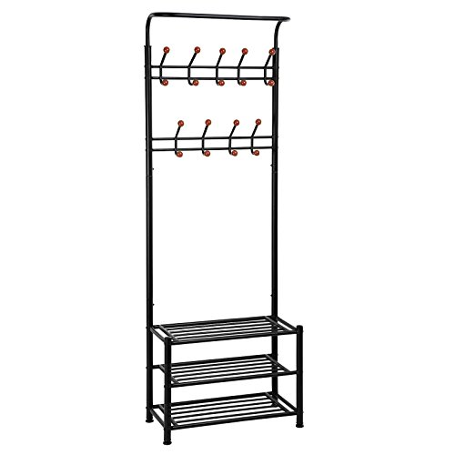 SONGMICS Entryway Coat Rack with Storage Shoe Rack Hallway Organizer 18 Hooks and 3-Tier Shelves Metal Black