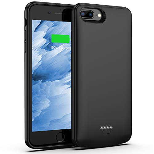 Battery Case for iPhone 8 Plus 7 Plus, 5500mAh Slim Portable Charger Case Extend 120% Battery Life, Protective Backup Charging Case Compatible with iPhone 8 Plus 7 Plus