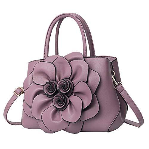 Sac à Sac en avec Sacs Mode 3d fleur à cuir Violet Sac tout bandoulière Casual fourre pour main femme UxqFxwHd