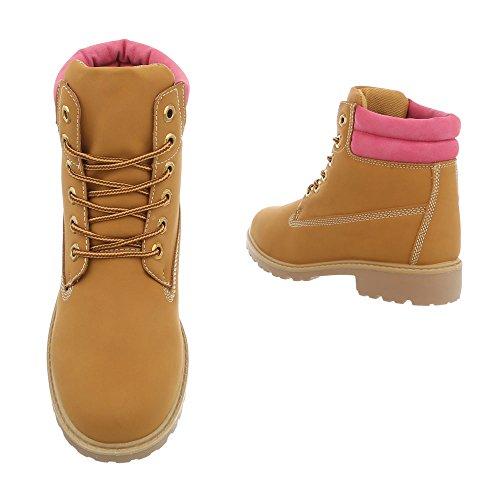 et Bottes Ital femme bottines Chaussures à Bloc Rose lacet Bottines Design Ym575 Marron qwROx5CE