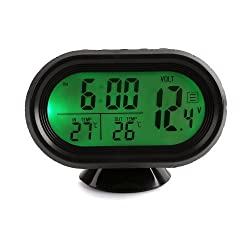Docooler High Quality Multi-Function Digital 12V Car Voltage Alarm Temperature Thermometer Clock LCD Monitor Battery Meter Detector Display (Green)