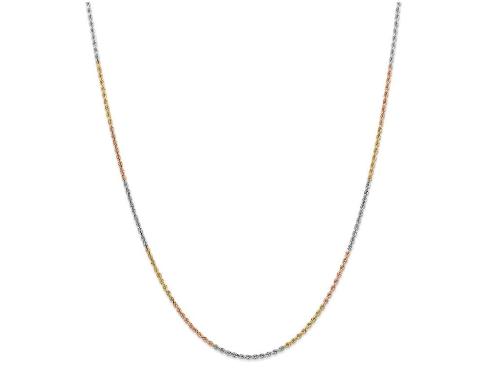 Finejewelers 10 Inch 14k Tri-color 1.8mm bright-cut Rope Chain Ankle Bracelet