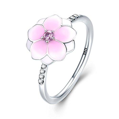 Silver Pink Enamel Ring - 4