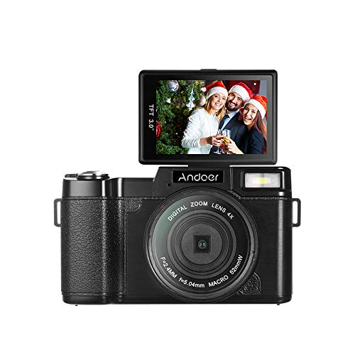 affordable Andoer Digital Camera Vlogging Camcorder Full HD 1080P 24MP Video Camera 3.0 inch Rotatable LCD Screen Anti-shake 4X Digital Zoom with Retractable Flashlight and UV Filter