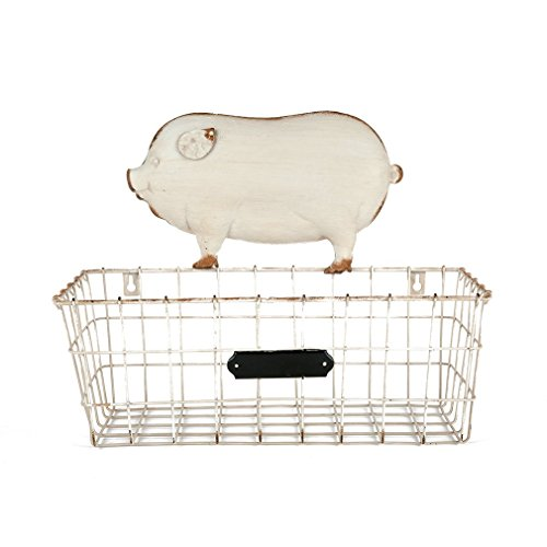 Nikky Home Shabby Chic Wall Mounted Hanging Metal Wire Mesh Storage Basket With Chalkbord Pig For Kitchen Magazine Paper Fruit Towel Rack Decor 14 By 11