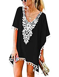 f9c2364e4e Women's Crochet Chiffon Tassel Swimsuit Beach Bikini Cover Ups for Swimwear