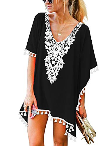 CPOKRTWSO Women's Chiffon Tassel Swimsuit Bikini Stylish Beach Cover up Black L/XL