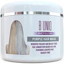 [Patrocinado] Máscara de pelo de color morado por B Uniq: acondicionado violeta máscara para cabello rubio/plata–sin amarillo: Revive Dull tonos, reducir Brassiness y reparación Cabello Seco y Dañado–7.3fl oz