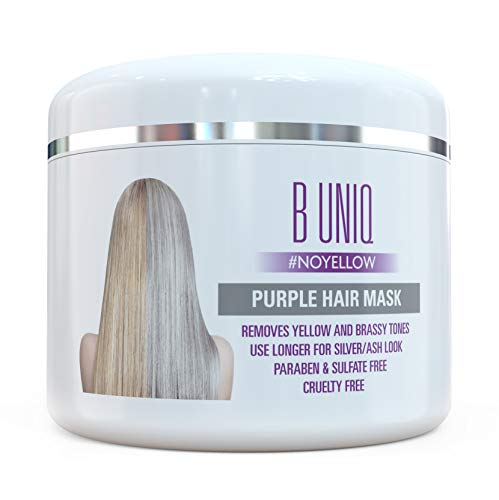 Purple Hair Mask For Blonde, Platinum & Silver Hair - Banish Yellow Hues: Blue Masque to Reduce Brassiness & Condition Dry Damaged Hair - Sulfate Free Toner - 7.27 Fl. Oz / 215 ml - Damaged Hair Pack