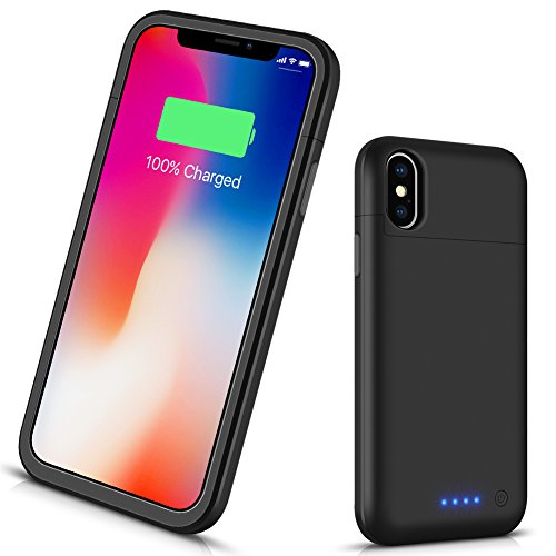 VinPone iPhone X Battery Case Ultra Slim, 5200mAh Rechargeable Protective Portable Charging Case iPhone 10/iPhone X Extended Battery Pack Power Bank Charger Case - Black