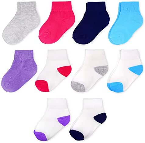 Fruit of the Loom Baby and Toddler 10-Pack Kick-Proof Socks - Unisex, Girls, Boys