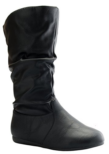 Link Selena-23K Girl's Mid-Calf Solid Color Flat Heel Slouch Boots by Link