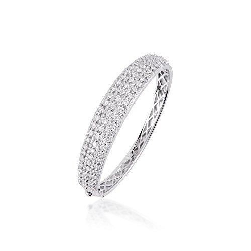 D'sire 18K White Gold Diamond Bangle Bracelet TDW 5.61 ()