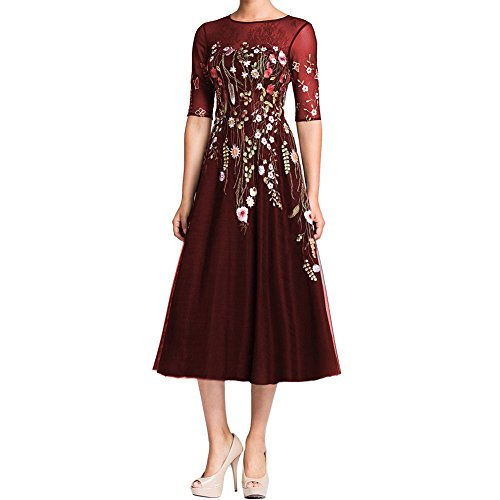 Lmbridal Women S Half Sleeves Floral Print Formal Dress