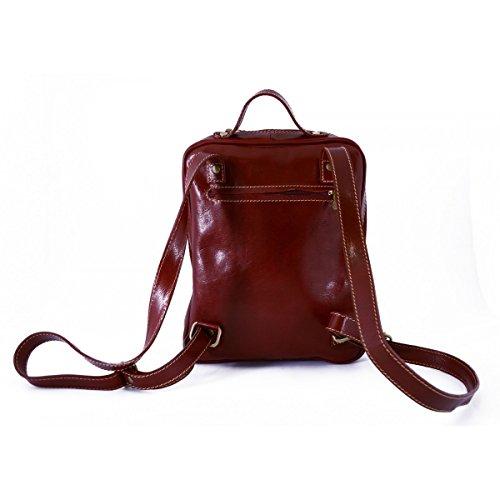 Zaino In Vera Pelle Con Tasche Frontali Colore Rosso - Pelletteria Toscana Made In Italy - Zaino