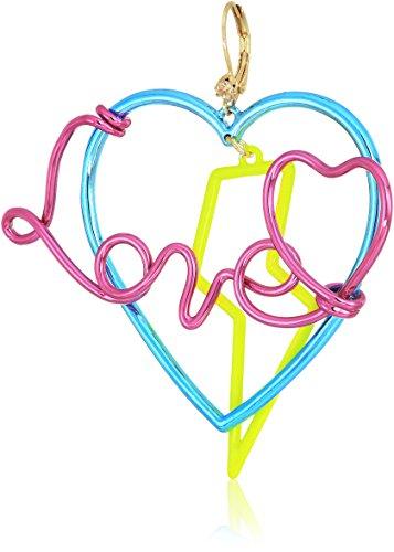 m Blue and Crystal Heart Drop Earrings (Multi Color Crystal Heart Earrings)