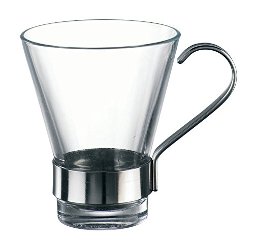 Bormioli Rocco Ypsilon Espresso Cups with Metal Handle, Clear, Set of 6 ()